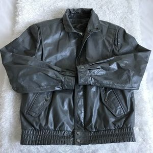 Berman's Mens Gray Real Leather Jacket Vintage 40